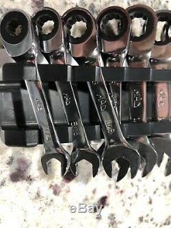 Mac Tools Edge 7pc SAE Stubby Ratcheting 12pt Wrench Set Srws27k