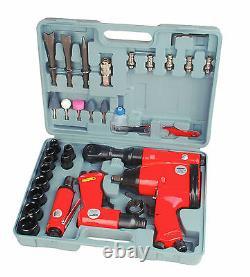 Mannesmann Air Tools Set 33pc Wrench / Ratchet / Grinder / Hammer / 1/2 1/4