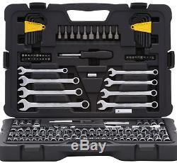 Mechanics Tool Set 145 Piece Multi Wrench Ratchet Socket Driver Kit Case Stanley