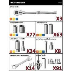 Mechanics Tool Set (290-Piece) with SAE and Metric Tools Chromium-alloy Steel