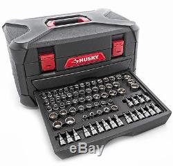 Mechanics Tool Set and Storage Case Bit Sockets Wrenches Ratchet Workshop Husky