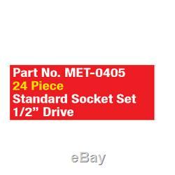 Metrinch 1/2 Dr Socket 24pc Set Metric SAE = 65pc Conventional Set Worn Nuts