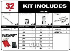 Milwaukee, 3/8 in. Drive Metric Ratchet and Socket Mechanics Tool Set SHIPS NOW