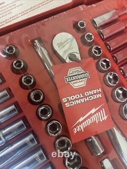Milwaukee Ratchet Socket Mechanics Tool Set 3/8 in. Drive SAE/Metric (56-Piece)