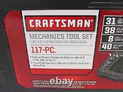 NEW! CRAFTSMAN 117-pc 1/4 & 3/8 DRIVE MECHANICS TOOL SET, SAE & METRIC, 933117
