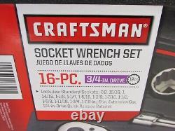 NEW! CRAFTSMAN 16-pc. 3/4 DRIVE SOCKET WRENCH TOOL SET, SAE, 946304