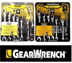 NEW GEARWRENCh 14pc FLEX HEAD RATCHETING WRENCH SET SAE & METRIC MM 44005 44006