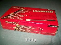 NEW Snap-on 12Pc Metric Semideep Socket Set Extra Long Handle Ratchet Red Tray