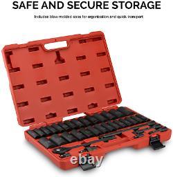 Neiko 02446A 1/2 Drive Master Impact Socket Set, 35-Pcs Deep Socket Assortment