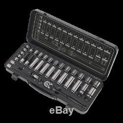 New! AK7971 Sealey PREMIER BLACK Socket Set 34pc 3/8 Sq 6pt WallDrive Metric