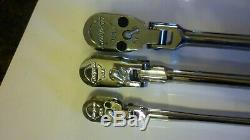 New Snap On 3 piece green flex head X long ratchet set, 1/4, 3/8 and 1/2 inch