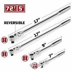 Powerbuilt 4 Piece Pro Tech 72 Tooth Long Reach Flex Head Ratchet Set 240238