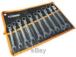 Ratchet Spanner Set 10pc Combi Flexi Metric Flexible 10 19mm Ratchet Wrench