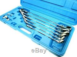 Ratchet Wrench Spanner Set 10pc Extra Long Double Flexible Head US Pro 2218