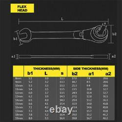 Ratcheting Tubing Wrench Set Metric Flex Head 72-Tooth Hand Car Repair Tools