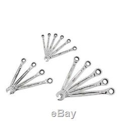 SAE Combination Ratcheting Wrench Mechanics Tool Set (15-Piece)