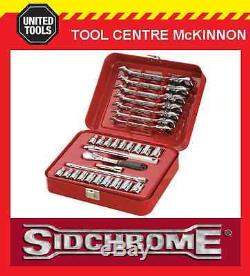 SIDCHROME SCMT12105 30pce METRIC & A/F 1/4 SOCKET & FLEX RATCHET SPANNER SET