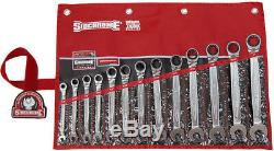 SIDCHROME SCMT22211 13pce PRO SERIES RATCHET RING & OPEN END A/F SPANNER SET