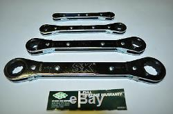 SK Hand Tools SAE 4 Piece 1/4 to 3/4 Ratcheting Box End Wrench Set Made in USA