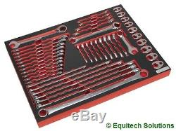 Sealey TBTP11 Tool Chest Tray Spanner Wrench Set Metric Stubby Ratchet 44 Piece