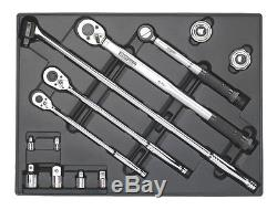 Sealey Tool Tray with Ratchet Torque Wrench Breaker Bar & Socket Adaptor Set 13p