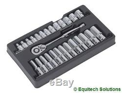 Sealey Tools AK66483 Ratchet Wrench & Socket Rail Set 1/2 Drive 6 Six Point New