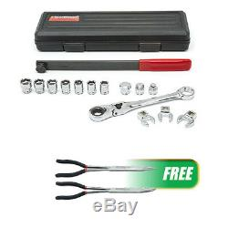 Serpentine Belt Tool Set withLocking Flex Head Ratcheting Wrench withFREE 2Pc Double