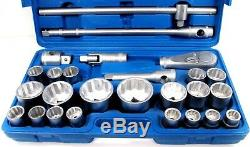 Shallow Socket Set 26pc 3/4 and 1 Inch Drive 21mm 65mm Metric Ratchet SS301