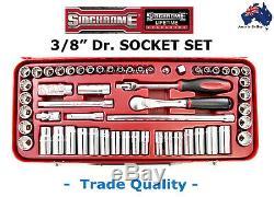 Sidchrome 3/8 Dr Socket Set Af + Metric Trade Quality Top Otr Ratchet Special