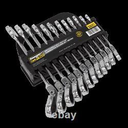 Siegen by Sealey 12pc Ratchet Flexi Head Combination Spanner Set Metric 8-19mm