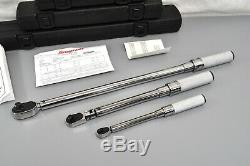 Snap-On 1/4 3/8 1/2 Dr Adjustable Click Type Flex Ratchet Torque Wrench Set