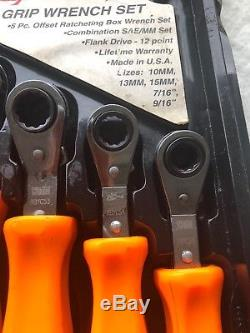 Snap On 5 Piece Offset Ratchet Wrench Hard Handle Set RARE RBYC5