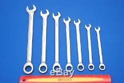 Snap-On NEW 7 Piece 12-Point SAE Ratcheting Combination Wrench Set OEXR707