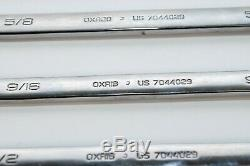 Snap On OEX707 7 pc 12-Point SAE Ratcheting Combination Wrench Set (3/8-3/4)