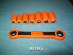 Snap-on IHT208K 3/8 drive 3/8 3/4 12-pt DEEP Socket Ratchet Wrench INSULATED