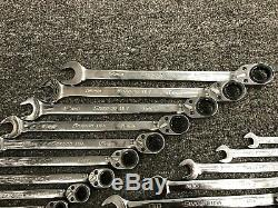 Snap-on Tools USA NEW 20 Piece SAE & Metric Ratcheting Combo Wrench Lot Set