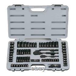 Stanley Socket Set Kit 69-Piece Ratchet Tool Laser-Etched Black Chrome NEW