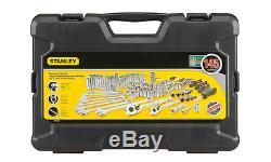 Stanley Tools Set Tool Mechanics Metric Wrenches Case Sae Kit Socket Ratchet Box