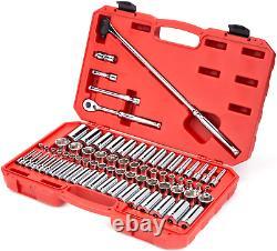 TEKTON 3/8 Drive 6-Pt Socket & Ratchet Set 74-Pcs 1/4-1 inch, 6-24 mm SKT15311