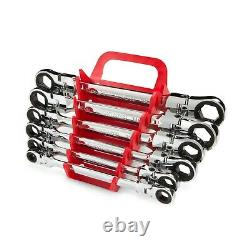 TEKTON Flex Ratcheting Box End Wrench Set, 6-Piece (8-19 mm) -with Wrench Keeper
