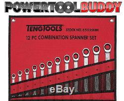 Teng Tools 6512RSMM 12pc Metric Combination Ratchet Spanner Set 8mm-19mm BAY12