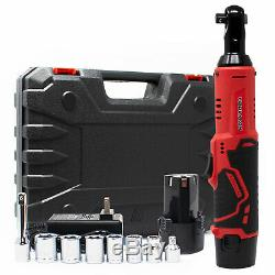 Toolman 3/8 12V 1.3A Cordless Ratchet Wrench Set with 2PCs Batteries