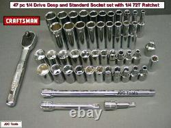 ULTIMATE Craftsman 1/4 Drive Socket Set + add ons SAE & MM. 6 Point. NEW 47pc