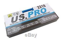US PRO 10pc Long Double Flexi Head Ratchet Spanner Wrench Set 8-19mm 2218