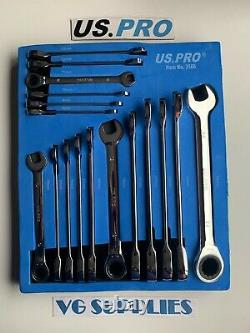 US PRO 17pc Metric Gear Ratchet Combination Spanner Wrench Set 8-24mm In EVA3566