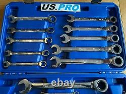 US PRO Tools 20pc Metric Gear Ratchet Combination Spanner Wrench Set, 3236 NEW