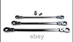 US Pro 10 Pc Extra Long Double Flexi Head Ratchet Spanners