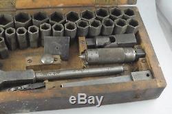 Vintage 1920's Starrett Ratchet Wrench Socket Set In Wood Box