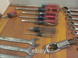 Vtg CRAFTSMAN USA Ratchet Combination Wrench Set SAE Metric Professional Pliers+