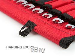 12-pc. Stubby Ratcheting Combination Wrench Set Roll-up Pochette De Rangement Métrique